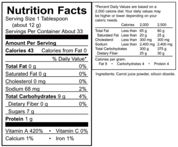 Supplement details for AIM Just Carrots