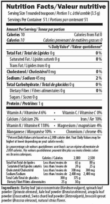 Supplement details for AIM LeafGreens